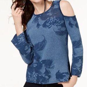 INC International Concepts Blue Cold Shoulder Top